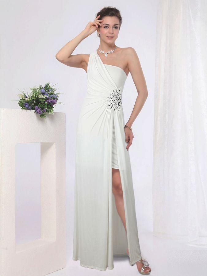05c9a62a023a bílé společenské šaty sexy s rozparkem