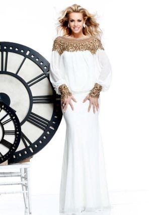 0d5722270487 boho bílé společenské nebo svatební šaty s rukávy - plesové šaty ...