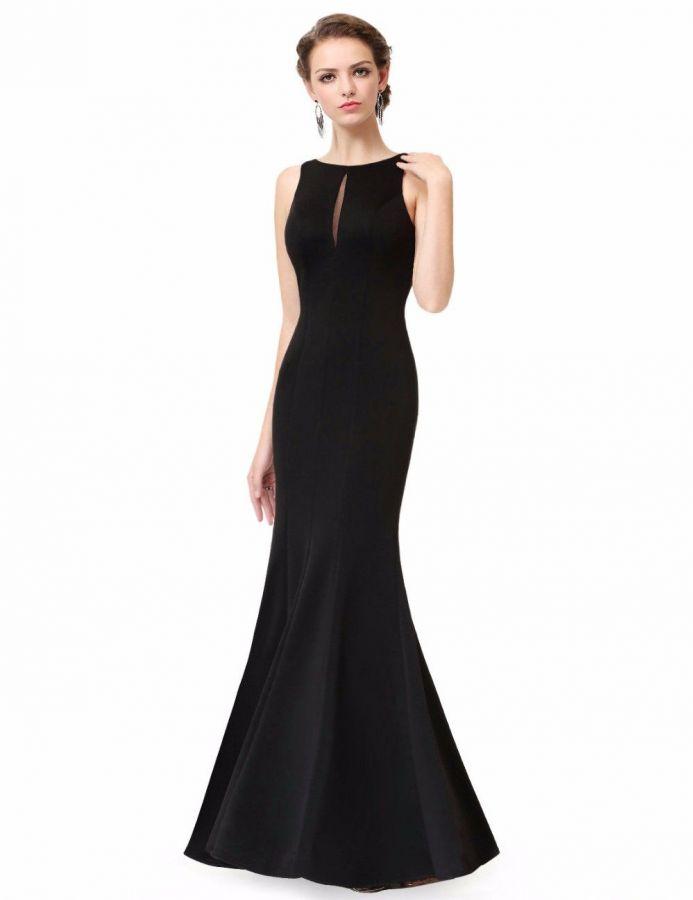 3cecfee5903a černé dlouhé hladké společenské šaty holá záda - plesové šaty ...