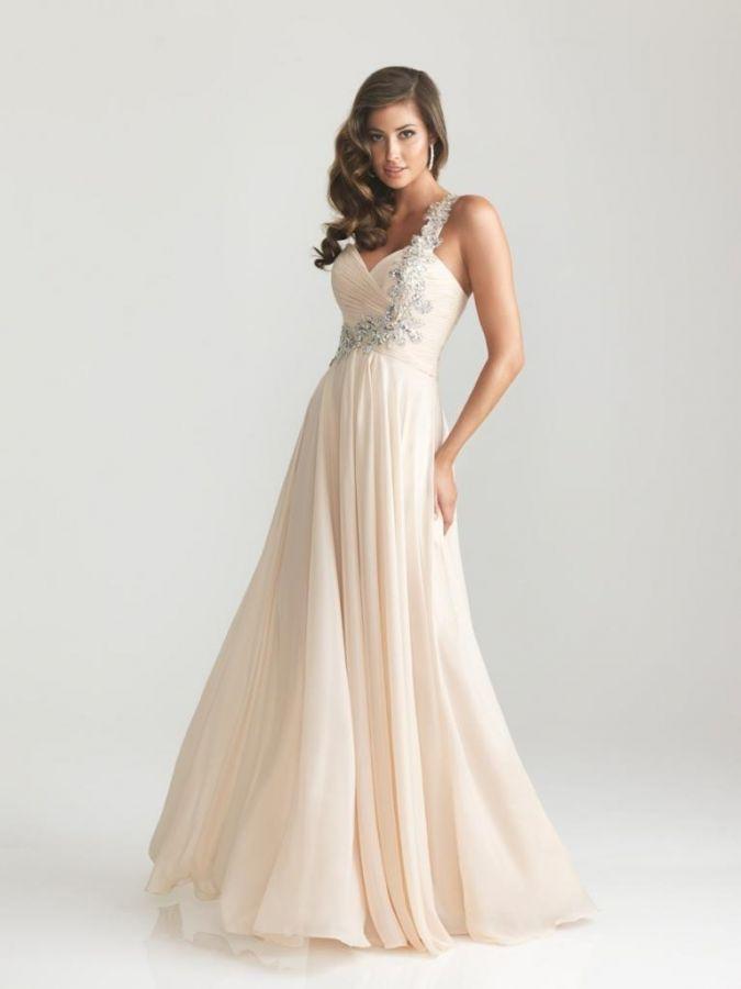 champagne krémové společenské šaty - plesové šaty 4a9cf33620