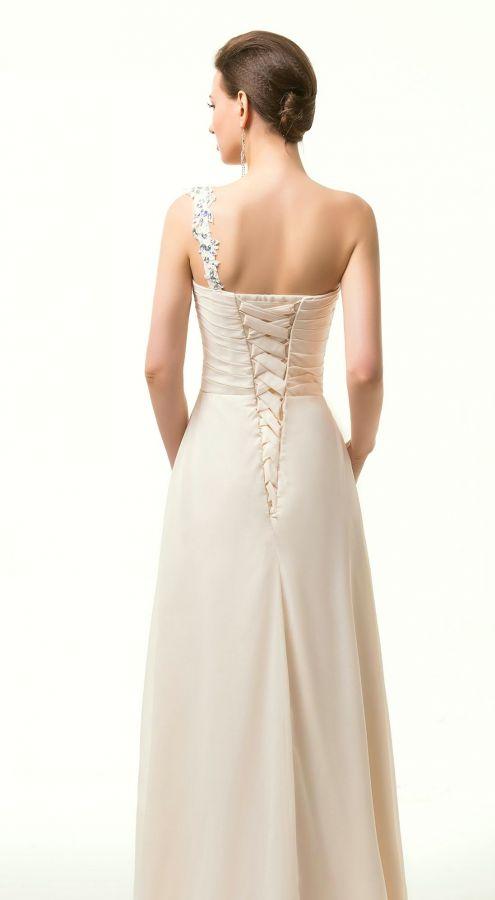 champagne krémové společenské šaty - plesové šaty 3d78ca4fc5b