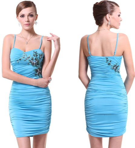 krátké společenské šaty pouzdrové tyrkysové - plesové šaty ...