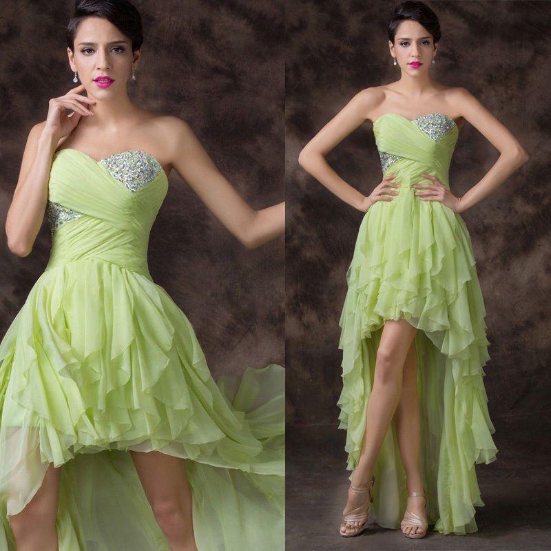 f237137f2a64 zelené ve předu krátké společenské šaty sexy